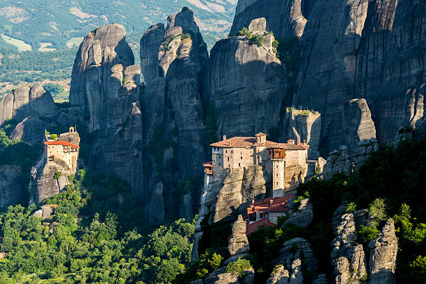 Meteora monasteries, the Holy Monastery of Roussanou at foreground, Greece stock photo
