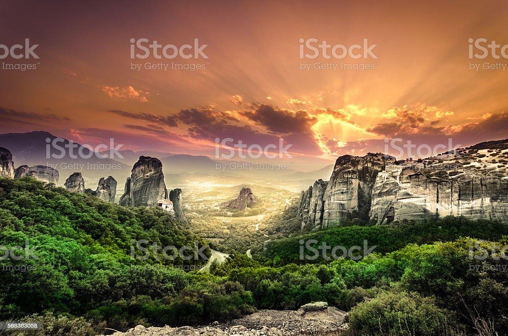 Meteora Monastery at sunset, Greece stock photo
