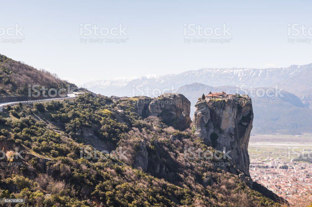 Meteora mountains, Thessaly, Greece.  UNESCO World Heritage List stock photo