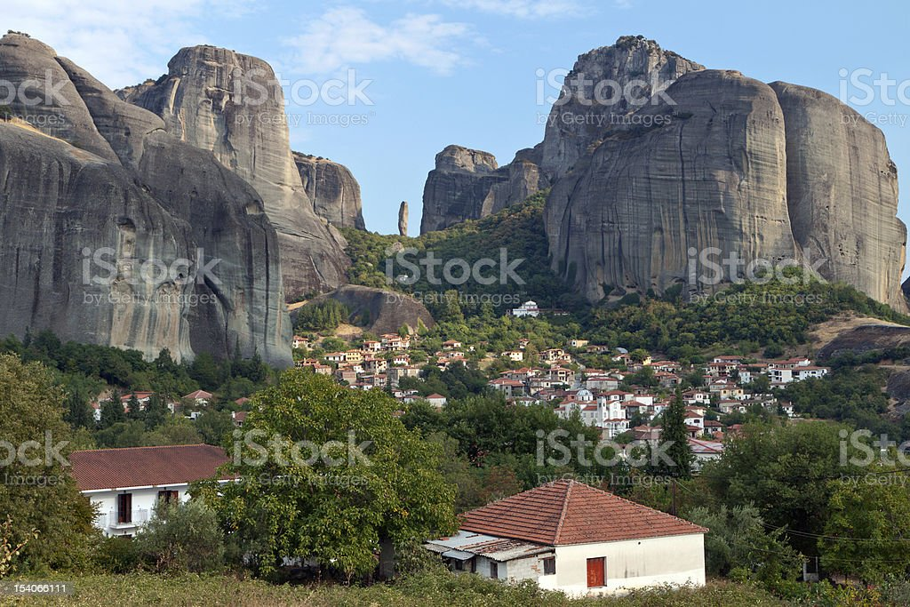 Meteora peaks and Kastraki village in Greece stock photo
