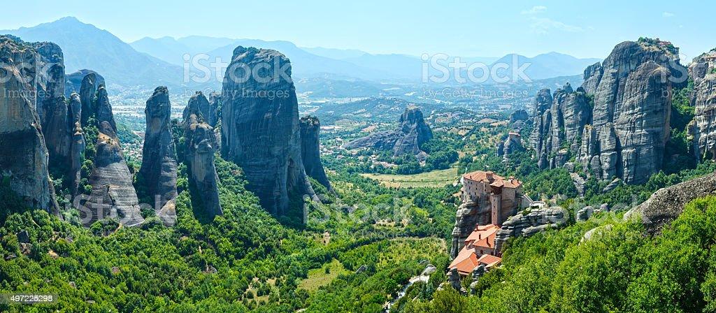 Meteora rocky monasteries summer panorama. stock photo