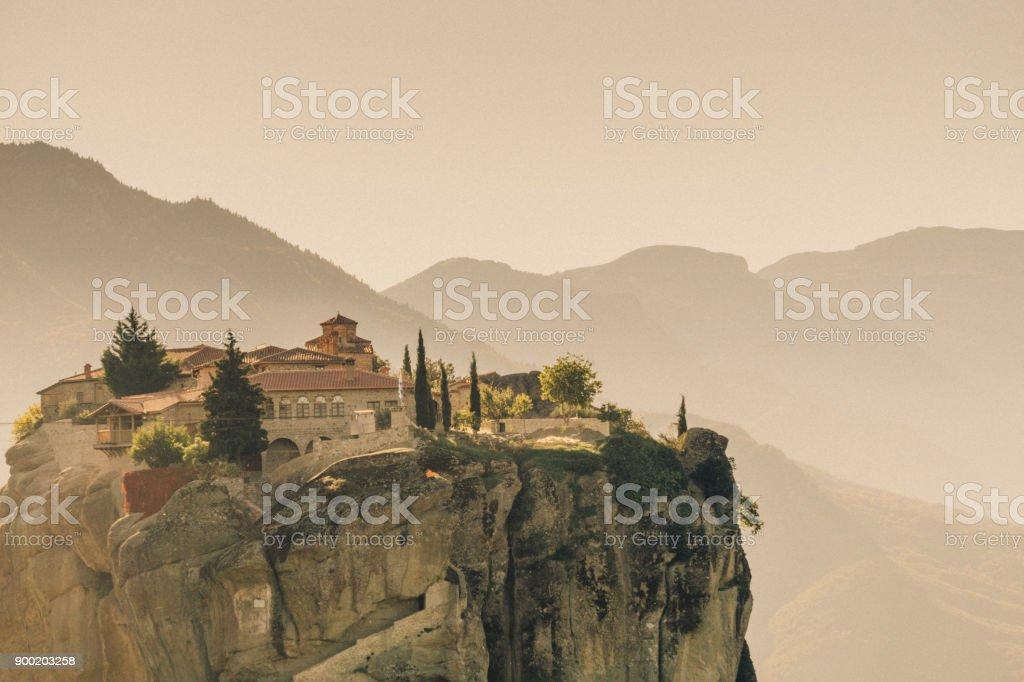 Meteora, view at one of the monasteries in Kalambaka, Greek Thessaly Plain. stock photo