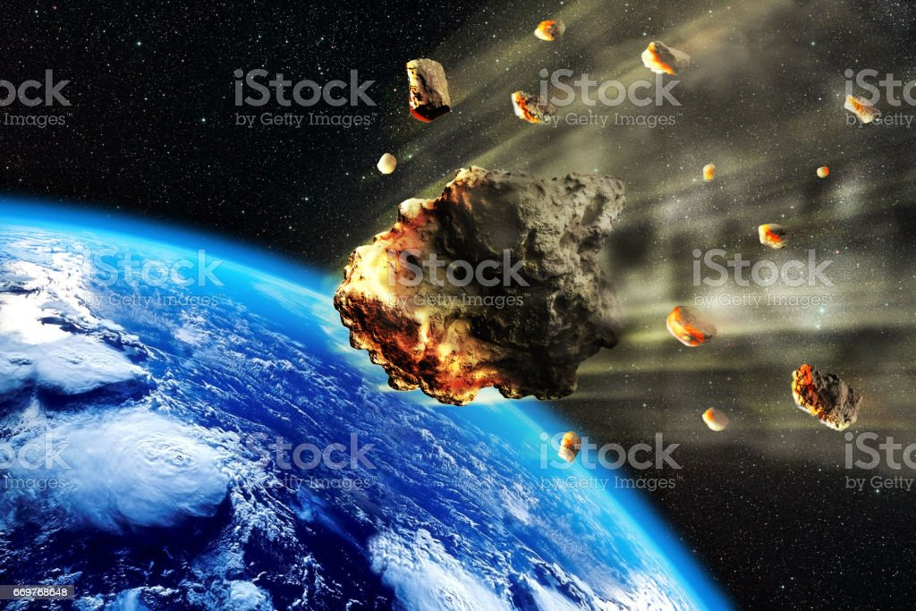 Meteorite Swarm Earth stock photo