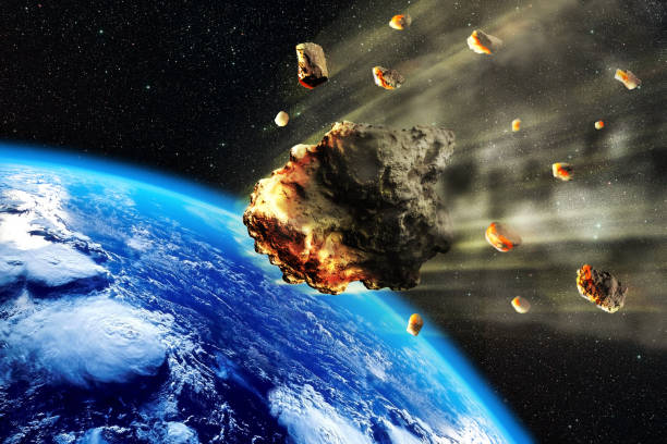 Meteorite Swarm Earth stock photo