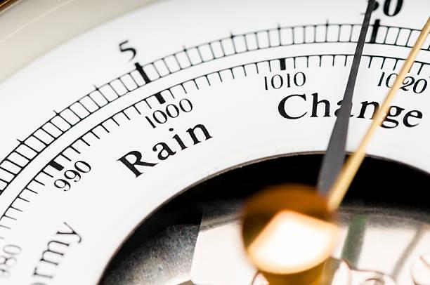meteorological weather predicting barometer close up on change - barometer bildbanksfoton och bilder
