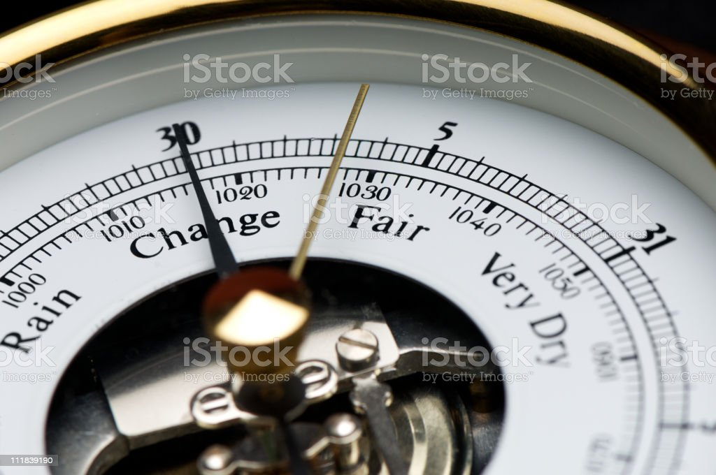 Meteorological Weather Predicting Barometer Close Up on Fair stock photo