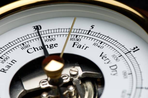 meteorological weather predicting barometer close up on fair - barometer bildbanksfoton och bilder