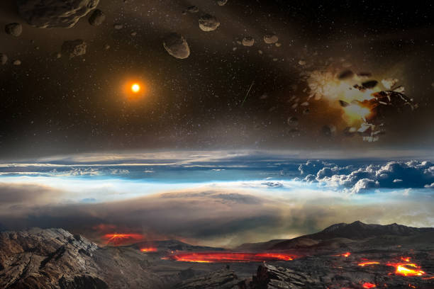 Meteors and asteroids at the top and volcano eruption at the bottom. Science fiction concept of dangers all around the planet Earth. Elements of this image furnished by NASA.
