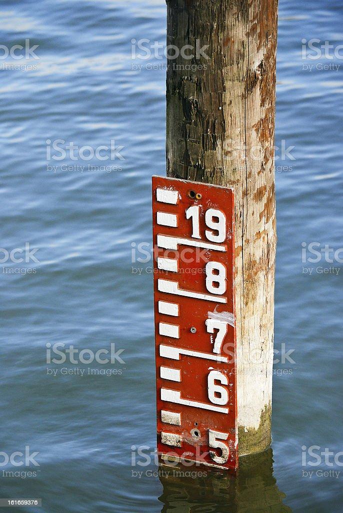 Meter der Wasserstand in den See - Lizenzfrei Fotografie Stock-Foto