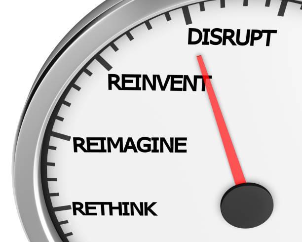 meter Disrupt Rethink Reimagine Reinvent Speedometer Words Change 3d Illustration rendering inconvenience stock pictures, royalty-free photos & images
