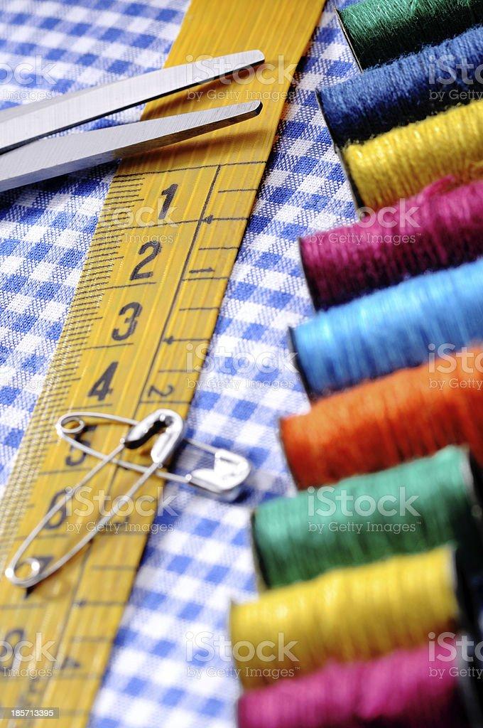 meter spools and scissor royalty-free stock photo