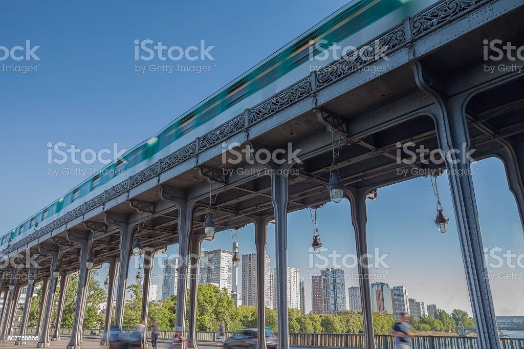 Metero Train on Bridge, Paris. - Photo