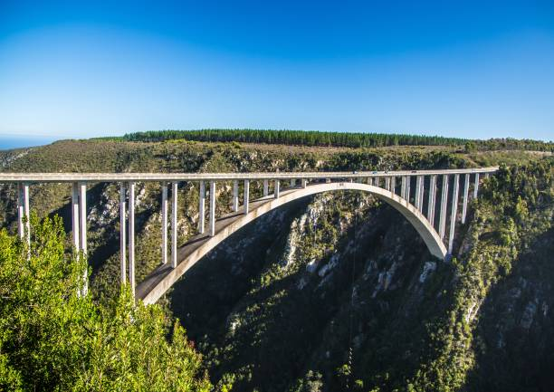 216 meters high Bloukrans River Bridge at the Eastern Cape of South Africa stock photo
