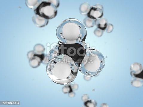 istock Methane Molecule Image. 3D rendering 842950024