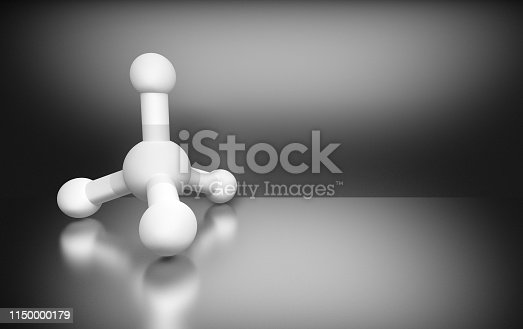 906720020 istock photo Methane molecule on gray background 1150000179