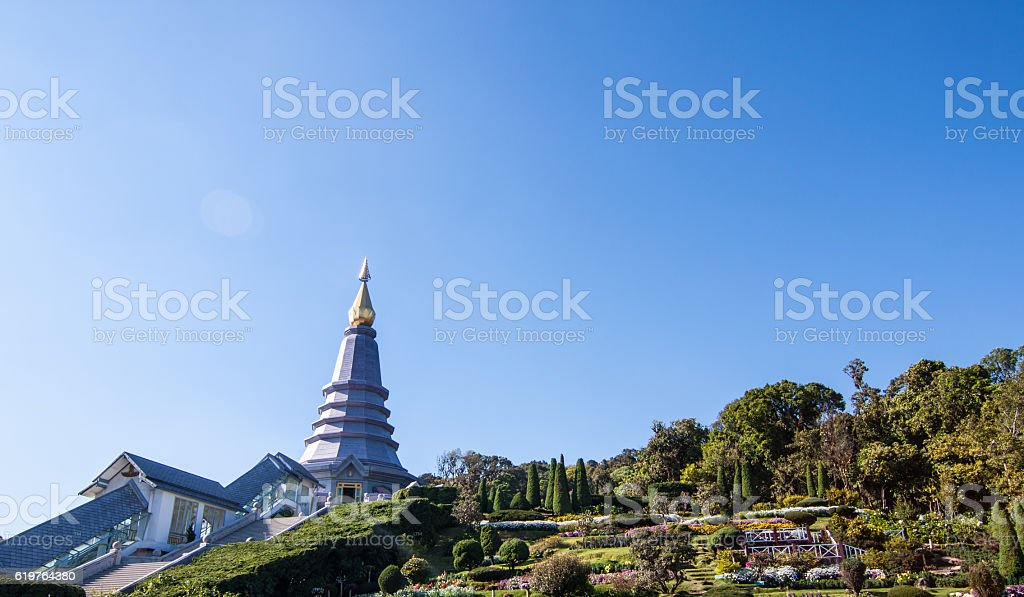 Methanidonnoppha stupa in Inthanon national park stock photo