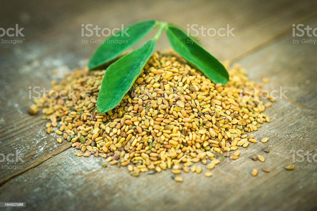 Methi seeds and leaf stock photo