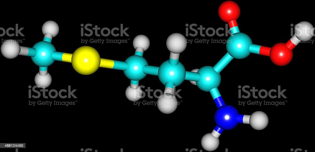 Methionine acid molecule isolated on black stock photo