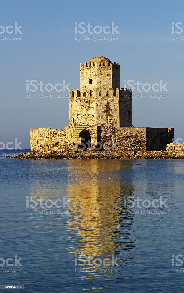 Methoni Castle Watch Tower stock photo
