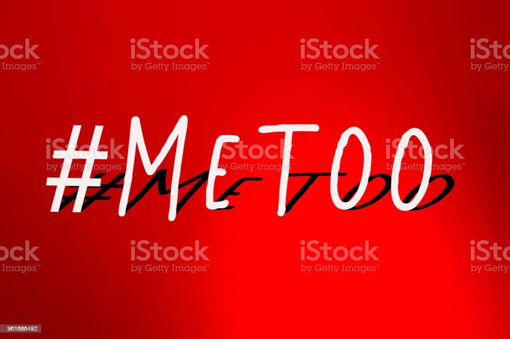 MeToo hashtag on abstract blur light gradient red background. #metoo as a new movement. As part of anti sexual harassment. stock photo