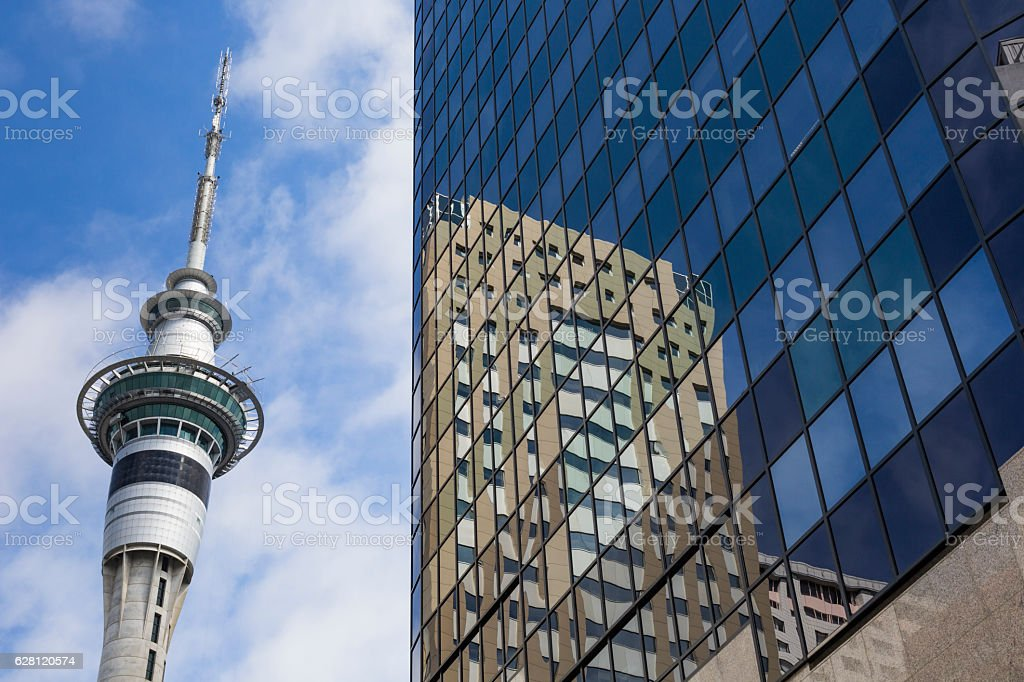 328 metres (1,076 ft) tall Auckland Sky Tower stock photo