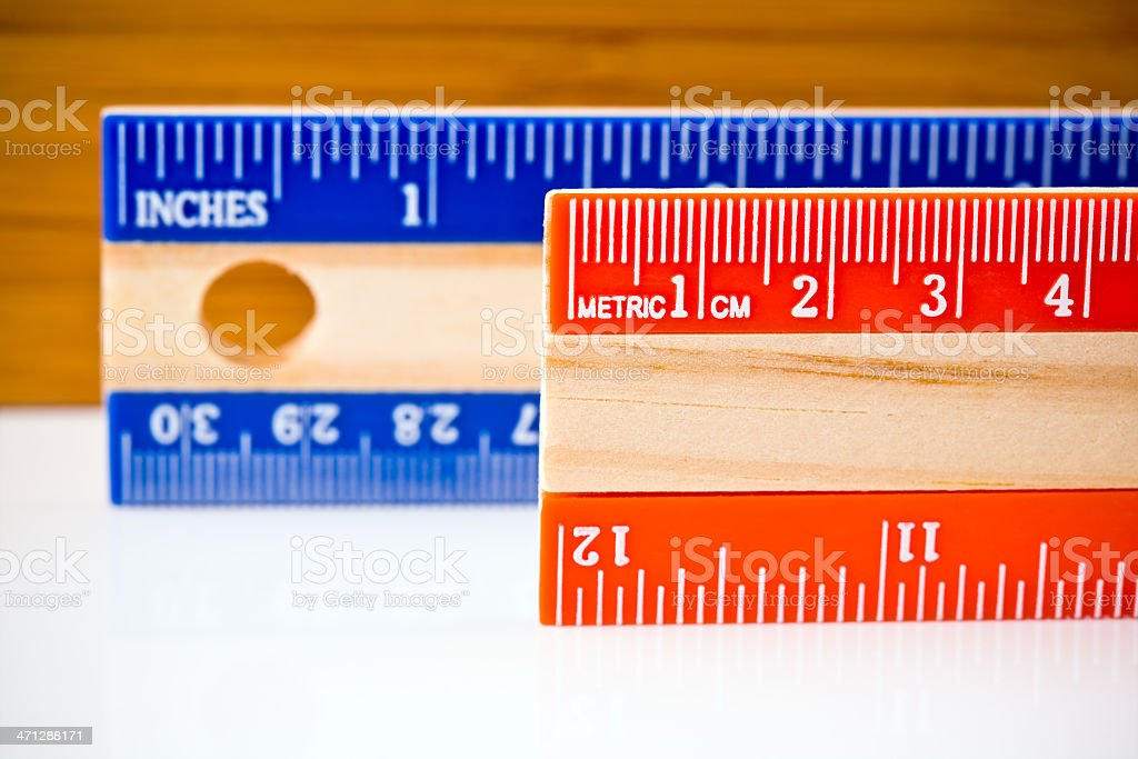 Metric and Inch Rulers stock photo