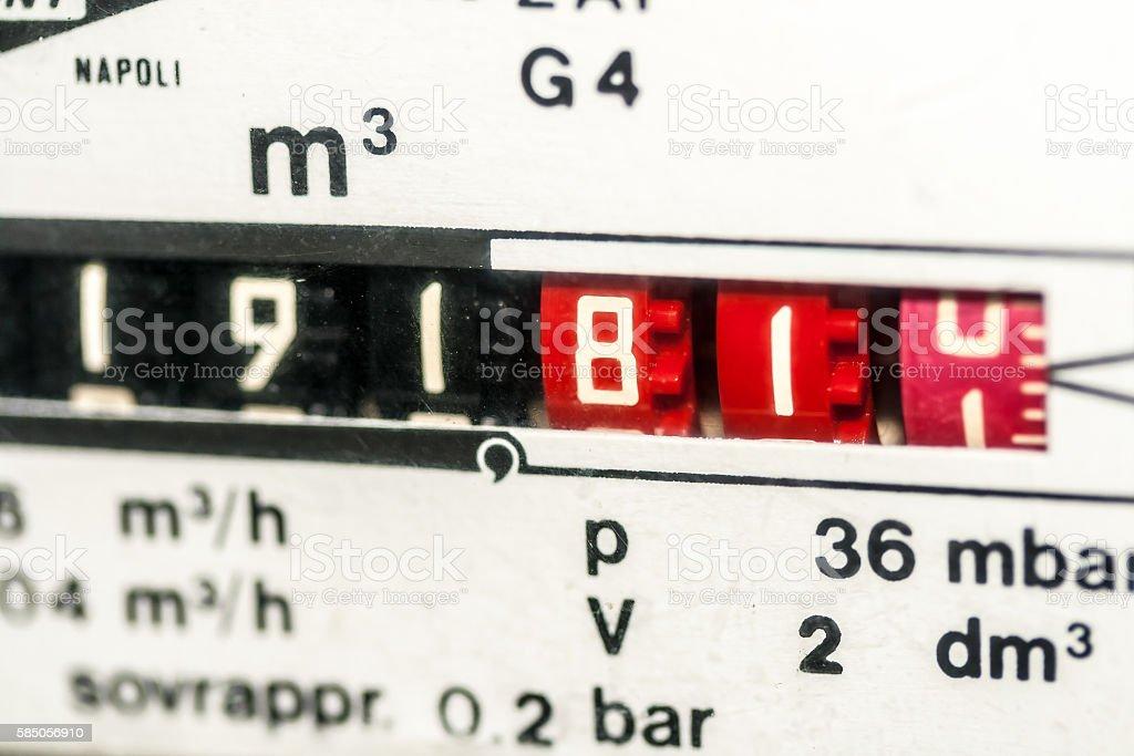 Metric gas meter stock photo