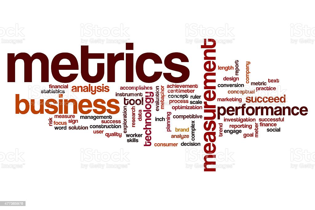 Metrics word cloud concept stock photo