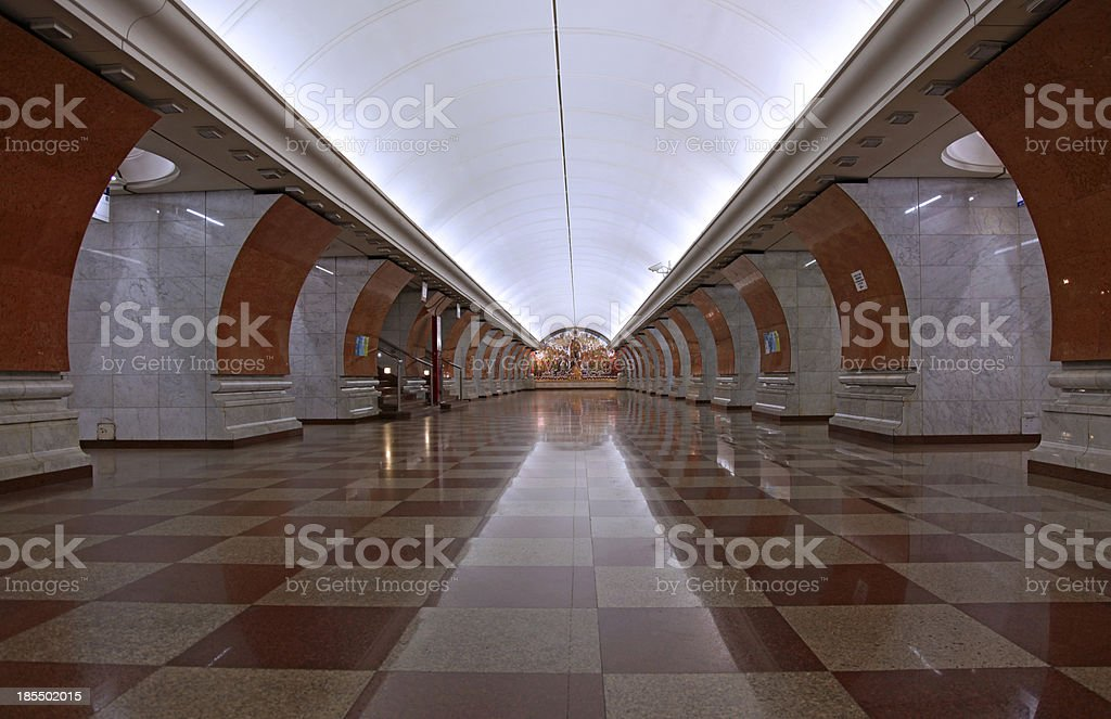 Metro and subway station with art deco design in Moscow royalty-free stock photo