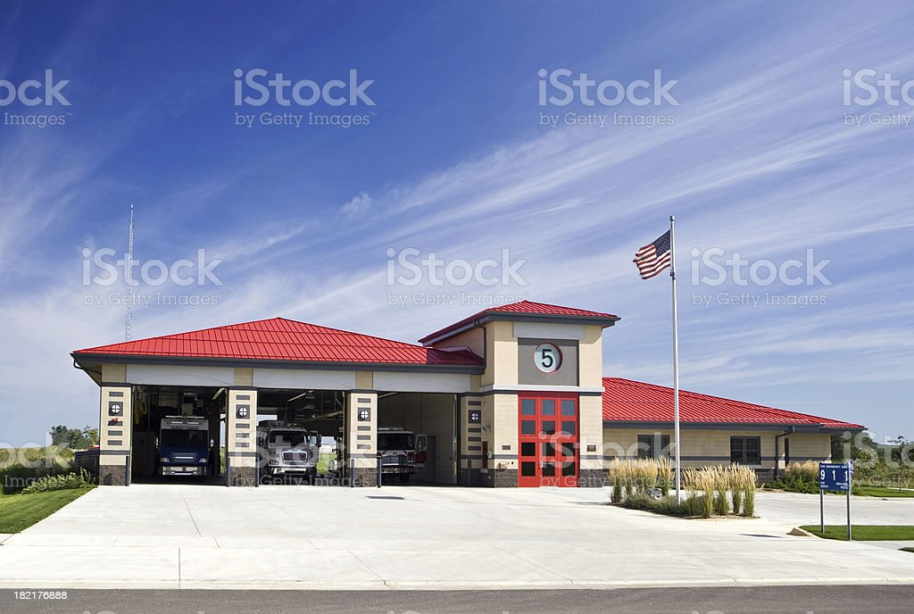Metro Area Fire Station with Trucks stock photo