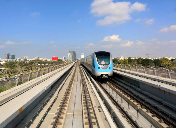 Metro Driverless Train on the Red line with passengers in Dubai