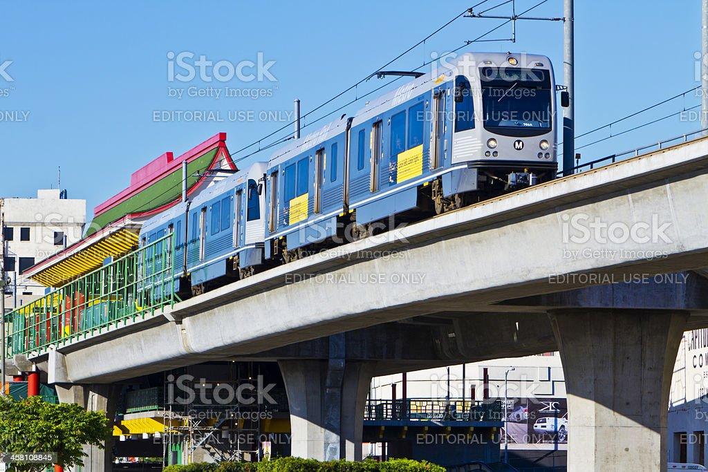 Metro Gold Line Train Depart Chinatown Station stock photo