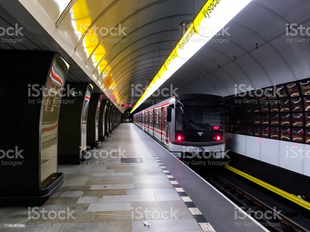 Metro in Prague Train at metro station in Prague Arch - Architectural Feature Stock Photo