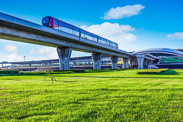 Metro pass through airport in Beijing china stock photo
