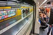 Barcelon, Spain - December 28, 2019: People in the metro in Barcelona