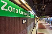Barceloa, Spain - December 29, 2019: Metro at the Zona Universitaria stop