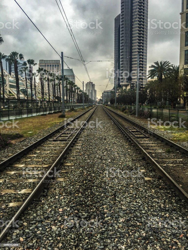 Metro Rail Tracks Through Downtown San Diego royalty-free stock photo