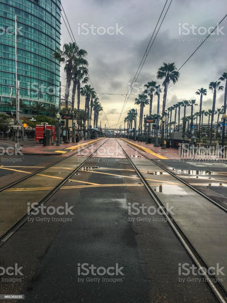 Metro Rail Tracks Through Downtown San Diego zbiór zdjęć royalty-free