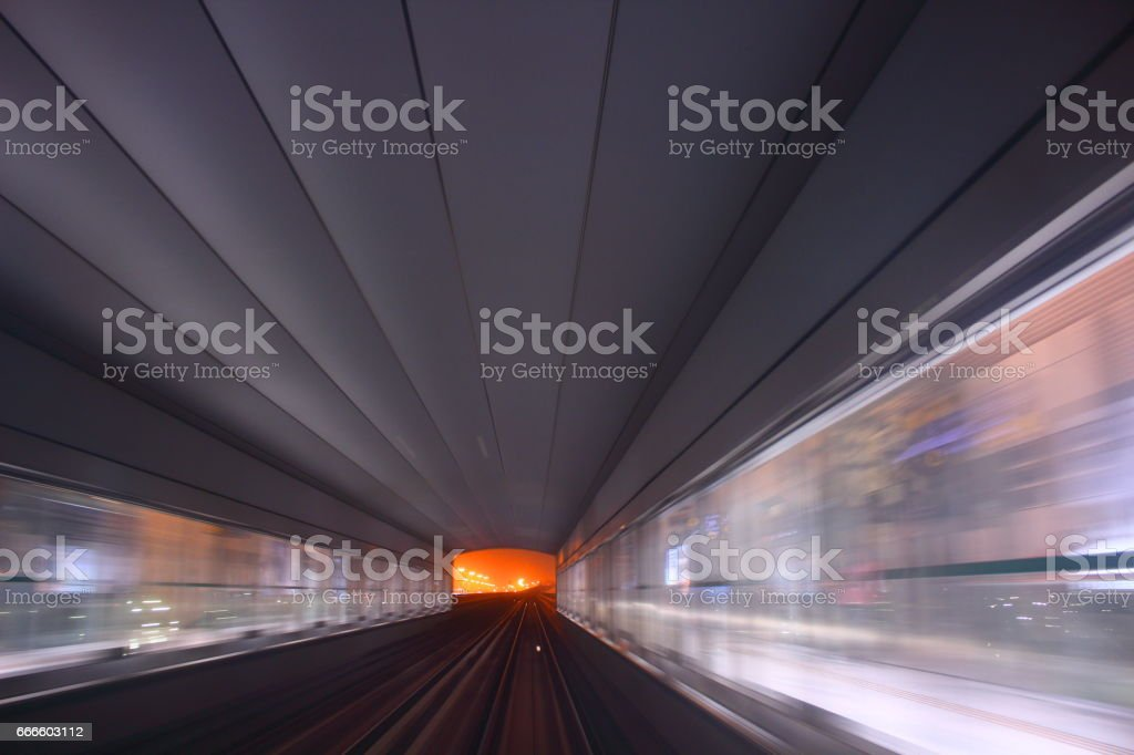 metro rail way at night stock photo