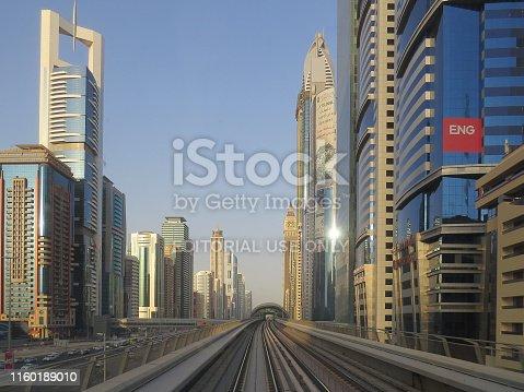 Dubai, UAE, December 23 2015 Metro rails in Dubai Cityscape