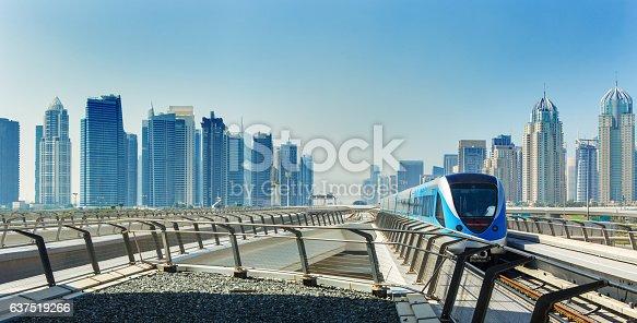 Metro railway and fully automated train in modern and luxury Dubai city,United Arab Emirates
