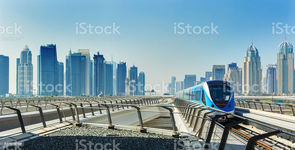 Metro railway and train in luxury Dubai,UAE – Foto