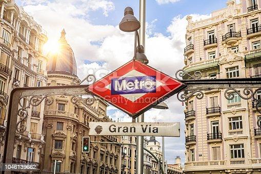 Metro Sign Gran Via in Madrid