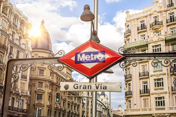 U-Bahn-Schild Gran Via in Madrid – Foto