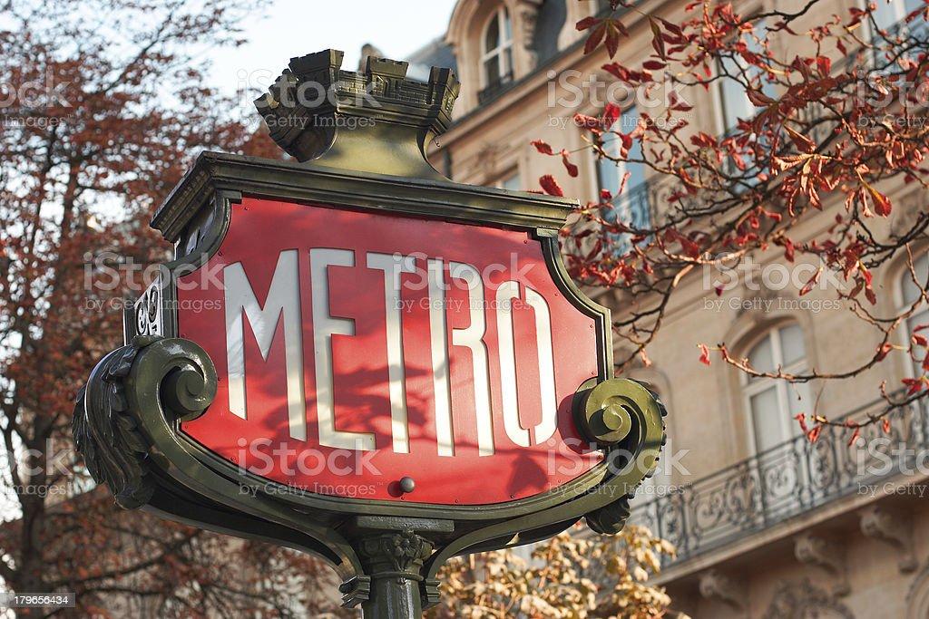 Metro sign in Paris - horizontal, close-up stock photo