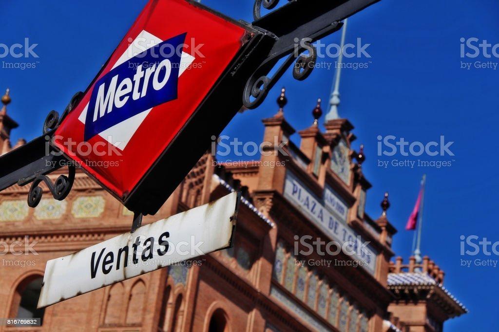 Metro sign of Ventas station at Plaza de Toros de Las Ventas (Las Ventas del Espiritu Santo), Madrid, Spain stock photo
