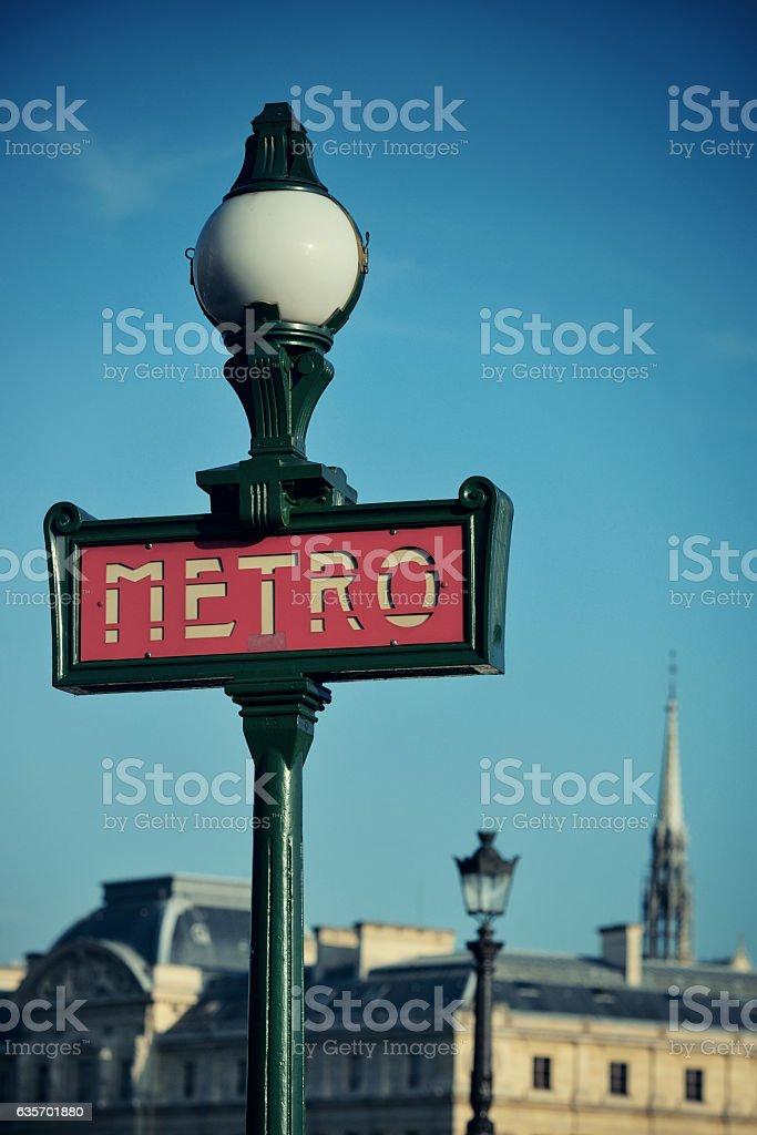 Metro Sign Paris royalty-free stock photo