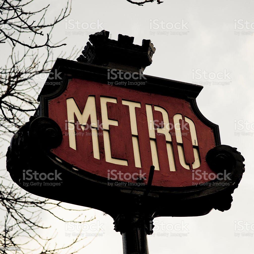 Metro Sign - Squared Paris Series III royalty-free stock photo
