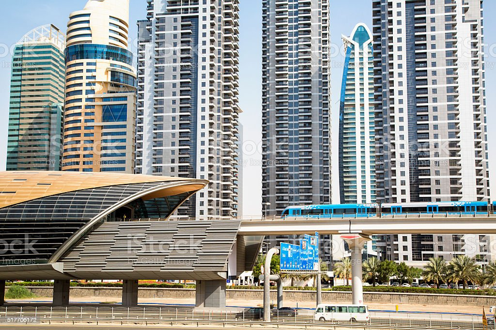 Metro Station and Skyline in Dubai, UAE stock photo
