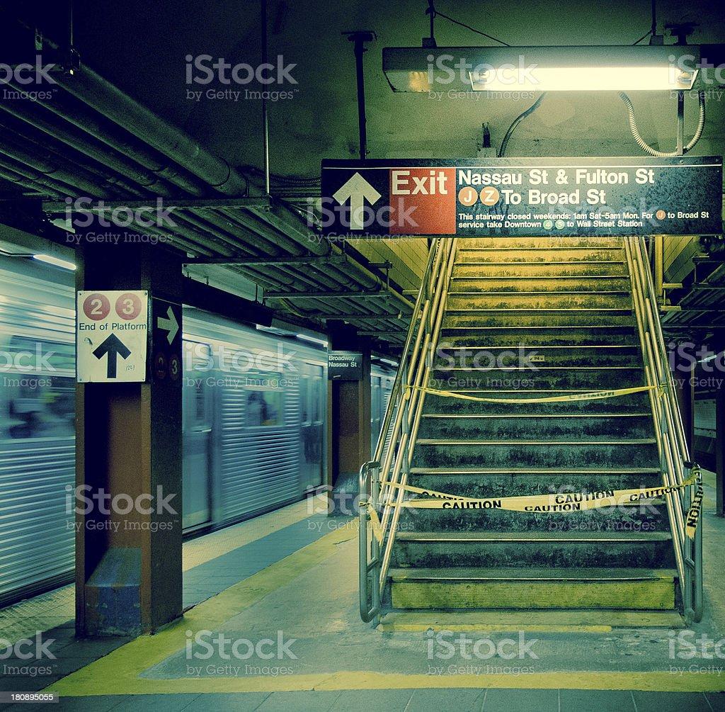 NY Metro Station at Night stock photo